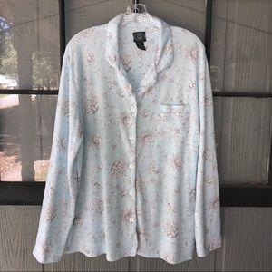 Laura Ashley pajama top, light blue w/gray flowers